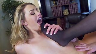 Foot fetish lesbian play at work with two needy dolls